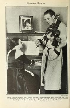 Dorothy Davenport & Wallace Reid at home enjoying one of their favorite past times