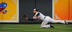 Orioles right fielder Nick Markakis makes a diving catch on a ball hit by the Los Angeles Angels' Chris Iannetta in the third inning at Camden Yards.