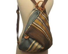 138209ff0c4 Handmade Triangle Backpack in striped multicolored fabric-leather MADE TO  ORDER
