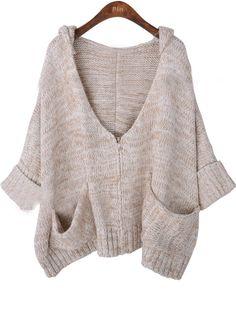 Khaki Batwing Sleeve Pockets Zipper Cardigan Sweater