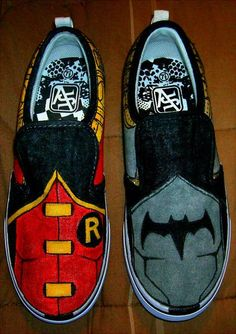Young Justice Batman and Robin Colored Shoes by TankDecor I Am Batman, Batman Robin, Batman Art, Pastel Outfit, Batgirl, Nightwing, Marvel Dc, Batman Shoes, Badass