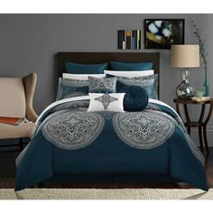 Shop Chic Home 13-Piece Adana Teal Bed in a Bag Comforter Set - Overstock - 18038296 Blue Comforter Sets, Navy Comforter, Blue Bedding, Online Bedding Stores, Silk Bedding, Bed In A Bag, Luxury Decor, King Beds, Bed Spreads