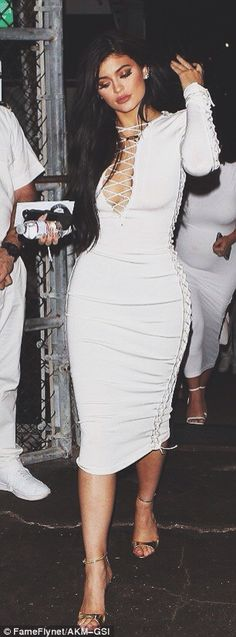 ☼ ☾ Kylie's style - form fitting white laced up dress