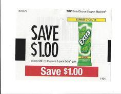 EXTRA GUM & Dentyne GUM ~ July & August 2014 ~ $1.00 on ONE (1)