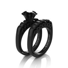 Caravaggio Classic 14K Black Gold 1.0 Ct Black Diamond Engagement Ring Wedding Band Set R637S-14KBGBD | Caravaggio Jewelry
