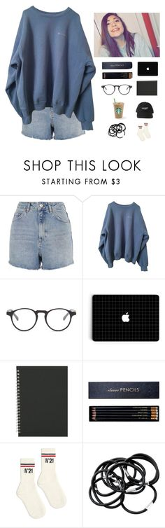 """""""me studying"""" by abbyreichart ❤ liked on Polyvore featuring Topshop, Ellen Tracy, Sloane Stationery, N°21, H&M, cute, simple, Sweater, hat and studying"""
