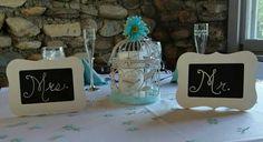 Mr. & Mrs. Bride and Groom head table signs.  Aqua / tiffany blue. Black board chalk signs. Bird cage decor. Wedding table center pieces. Head table.