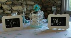 Mr. & Mrs. Bride and Groom head table signs.  Aqua / tiffany blue. Black board chalk signs. Bird cage decor. Wedding table center pieces. Head table.