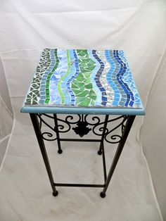 Mosaic side table or plant stand