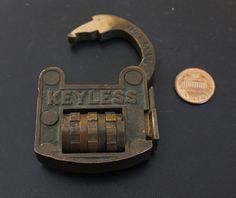 ANTIQUE BRASS TURMANS KEYLESS LOCK Pat March 8, 1886 COMBINATION PADLOCK LOCK