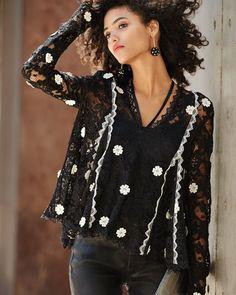 Cyndi V-Neck Semisheer Lace Top