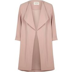 River Island Petite light pink duster coat ($120) ❤ liked on Polyvore featuring outerwear, coats, coats / jackets, jackets, pink, women, light pink coat, pink coat, long sleeve coat and river island coats
