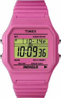 Timex Women's T2M839T8 Fashion Digitals Premium Pink Watch Timex. $32.48. 24-hour chronograph. Hourly chime. Indiglo night-light. Daily alarm. Time and date (12/24-hour format). Save 35%!