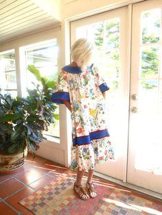 SOLD! Vintage Krist Gudnason patio dress designer California iconic 1970's house dress lounge wear resort beach botanical print: medium, large by BopandAwe on Etsy