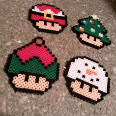 Christmas mushrooms perler beads by thecozycorner_li