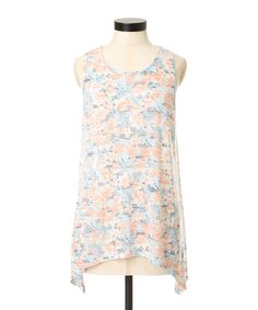 faded floral tankfaded floral tank, CORAL MIX