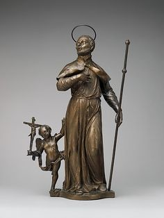 St. Francis Xavier with angel carrying crucifix, bronze, ca 1722, Italian. MET