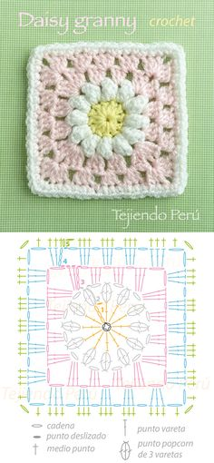 Daisy granny square diagram! Pinned from Tejiendo's facebook post.