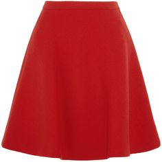 Miu Miu Wool-crepe mini skirt ($1,160) ❤ liked on Polyvore featuring skirts, mini skirts, short skirts, short mini skirts, red skirt, flared mini skirt and red a line skirt