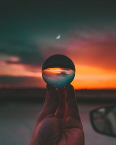 A tiny moon reflected through the Lensball. In Katy, Texas, USA. Wide Angle Photography, Moon Photography, Photography Ideas, Reflection And Refraction, Artsy Photos, Immersive Experience, Crystal Ball, Night Time, Painting Prints