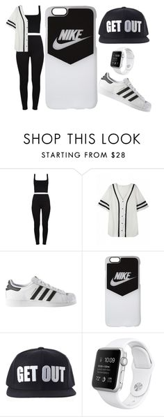 """#GET OUT!!!!"" by juanabennett ❤ liked on Polyvore featuring adidas and NIKE"