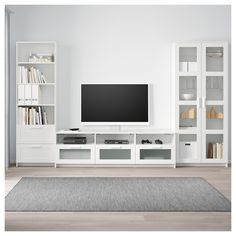 Ikea brimnes white tv storage combination/glass doors in 201 Brimnes, Glass Cabinet Doors, Glass Doors, Glass Shelves, Wall Shelves, Tv Wanddekor, Muebles Living, Tv Wall Decor, Living Room Decor Tv