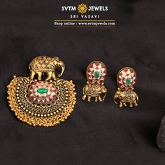 Inspired by this pendant set is Elephant or Hathis Safari.This yellow gold elephant Pendant and its matching earrings Studded with Kemp Stones and hanging gold balls. Light Weight Gold Jewellery, Latest Gold Jewellery, Gold Bangles Design, Gold Jewellery Design, Gold Jewelry, Pendant Design, Pendant Set, Pendant Jewelry, Antique Jewellery Designs
