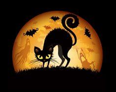 cats+in+artwork | Description: The Wallpaper above is Halloween Cat Art Wallpaper in ...
