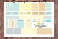 Decorative Blue Yellow Rustic Printable A4 Erin Condren Life Planner Stickers