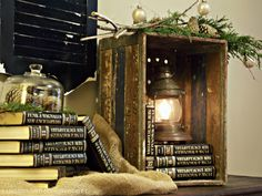 Christmas DIY project - Minus the books, this could work on porch.
