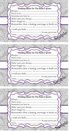 Wedding Advice Cards for the Bride and Groom, Damask, Purple and Gray, Bridal Shower, Wedding Shower on Etsy, $8.86 AUD