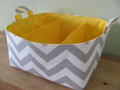 NEW Fabric Diaper Caddy - Fabric organizer storage bin basket - Grey Zig Zag $48.00