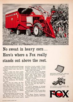 1967 Ad Fox River Tractor Appleton Wisconsin Crop Farming Agriculture Corn SF4 Crop Farming, Agriculture Farming, Appleton Wisconsin, Tractor Attachments, Old Farm Equipment, Classic Tractor, Ford Tractors, Farm Signs, Vintage Farm