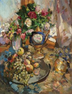 Konstantin Alekseyevich Korovin - Still life with roses and fruit, (1921)