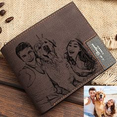 Personalized Mens Custom Photo Wallet with leather for Father Day Gift/for Men/for Friend Fathers Day Gifts, Gifts For Dad, Brown Wallet, Branded Wallets, Pet Memorials, Custom Photo, Boyfriend Gifts, Leather Wallet, Dark Brown