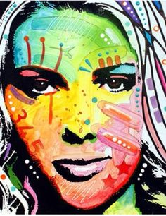Colourful face collage