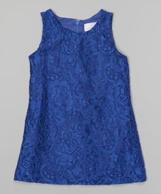 Love this Royal Blue Lace Shift Dress - Toddler & Girls on #zulily! #zulilyfinds