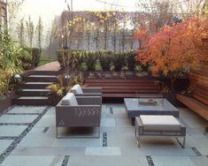 Modern Backyard Design Modern Backyard Design never walk out models. Modern Backyard Design is usually furnished in a numbe. Sunken Patio, Bluestone Patio, Backyard Patio, Backyard Landscaping, Outdoor Pavers, Paver Walkway, Patio Bench, Backyard Retreat, Modern Backyard Design
