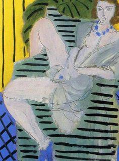 Matisse - Femme dans un fauteuil, fond bleu et jaune