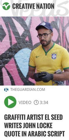 French - Tunisian graffiti artist eL Seed has brought his signature 'caligraffiti' to London as part of the Shubbak festival, a celebration of Arab culture | #graffiti #arabic | http://veeds.com/i/Xxa5qa8isvEds1OQ/creativenation/