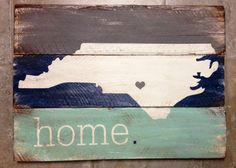 North Carolina is Home rustic, wooden sign made from reclaimed pallet wood on Etsy, $80.00