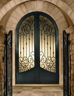 Arched Double Doors mediterranean front doors