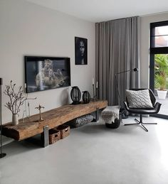 What a beautiful TV furniture. And if there is something that is just perfect here, then it is the floor. Living Room Tv, Home And Living, Living Spaces, Tv Furniture, Furniture Design, Room Interior, Home Interior Design, Muebles Living, Living Room Designs