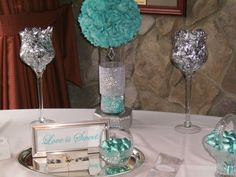 Tiffany Blue and Silver Candy Buffet by Baskets with Bling! Tiffany Blue Centerpieces, Bling Centerpiece, Wedding Centerpieces, Wedding Decorations, Peacock Centerpieces, Candy Centerpieces, Tiffany Blue Party, Tiffany Theme, Tiffany Wedding