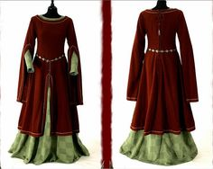 14th C. dress. Looks like a cotehardie with a pelicon (pronounced with a soft C and spelled with a cedille).