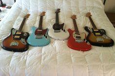 Kurt Cobain Fender Jaguars Japan and Mexico. Two Cobain Fender Mustangs. And a custom Fender Jagstang.