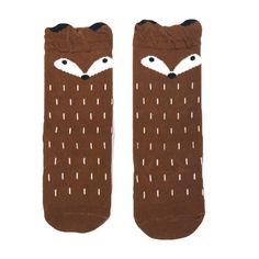 BROWN FOX KNEE HIGH SOCKS Grey Fox, Knee High Socks, Cow, Unisex, Cotton, Kids, How To Wear, Products, Young Children