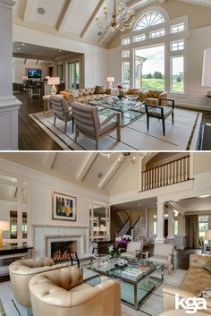 We love the vaulted ceilings in this traditional living room. Tall windows take advantage of the golf course view and light, neutral colors keep things bright and airy. Remodel by KGA Studio Architects, PC.