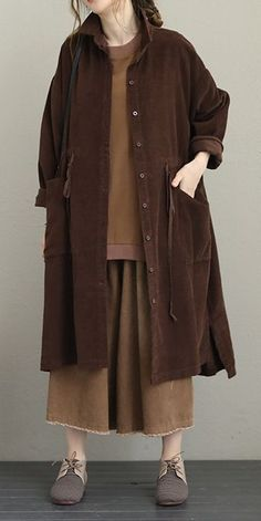 Vintage Corduroy Wind Coat Women Casual Fall Jacket Source by fantasylinen casual fall Moslem Fashion, Coats For Women, Clothes For Women, Leotard Fashion, Fall Jackets, Mode Hijab, Casual Fall, Pulls, Women's Fashion Dresses