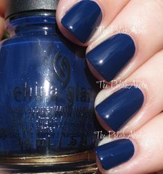 China Glaze Fall 2014 All Aboard Collection- One Track Mind is a navy blue creme.